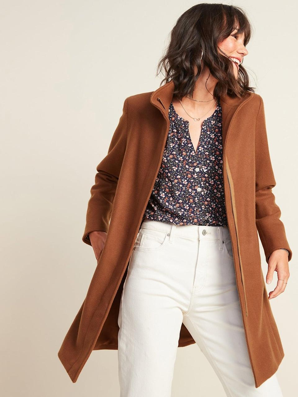 <p>We want to bundle up underneath this <span>Relaxed Soft-Brushed Funnel-Neck Coat </span>($54, originally $75).</p>