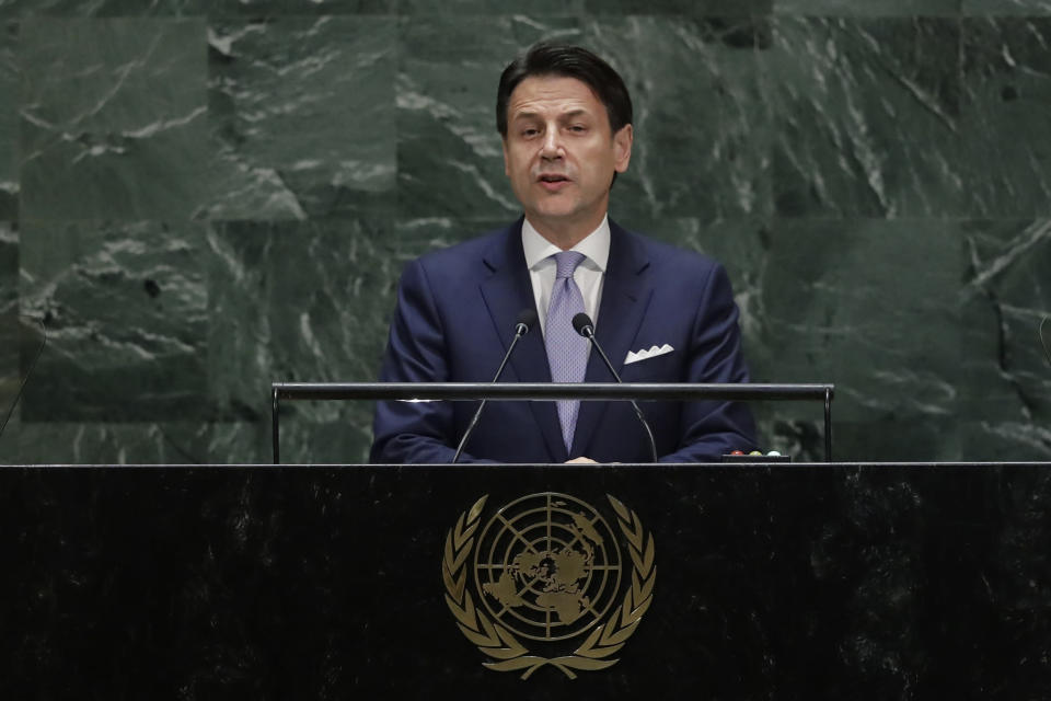 FILE - In this Tuesday, Sept. 24, 2019 file photo, Italy's Prime Minister Giuseppe Conte addresses the 74th session of the United Nations General Assembly, at the United Nations headquarters. When Giuseppe Conte exited the premier's office, palace employees warmly applauded in him appreciation. But that's hardly likely to be Conte's last hurrah in politics. Just a few hours after the handover-ceremony to transfer power to Mario Draghi, the former European Central Bank chief now tasked with leading Italy in the pandemic, Conte dashed off a thank-you note to citizens that sounded more like an ''arrivederci″ (see you again) then a retreat from the political world he was unexpectedly propelled into in 2018. (AP Photo/Frank Franklin II, File)