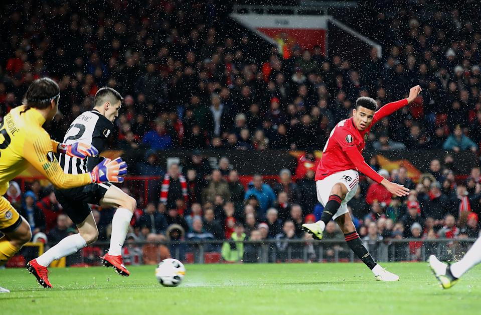 Manchester United's Mason Greenwood scores his side's first goal of the game during the UEFA Europa League Group L match at Old Trafford, Manchester. (Photo by Martin Rickett/PA Images via Getty Images)