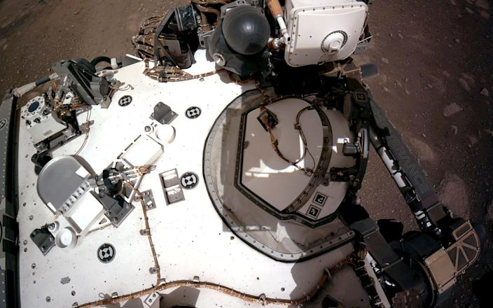 Navigation Cameras, or Navcams, aboard NASAs Perseverance Mars rover captured in this view of the rover's deck - AFP