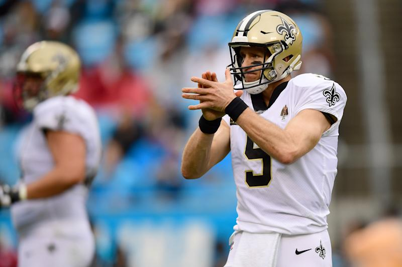 CHARLOTTE, NORTH CAROLINA - DECEMBER 29: Drew Brees #9 of the New Orleans Saints reacts after a play during the second quarter during their game against the Carolina Panthers at Bank of America Stadium on December 29, 2019 in Charlotte, North Carolina. (Photo by Jacob Kupferman/Getty Images)