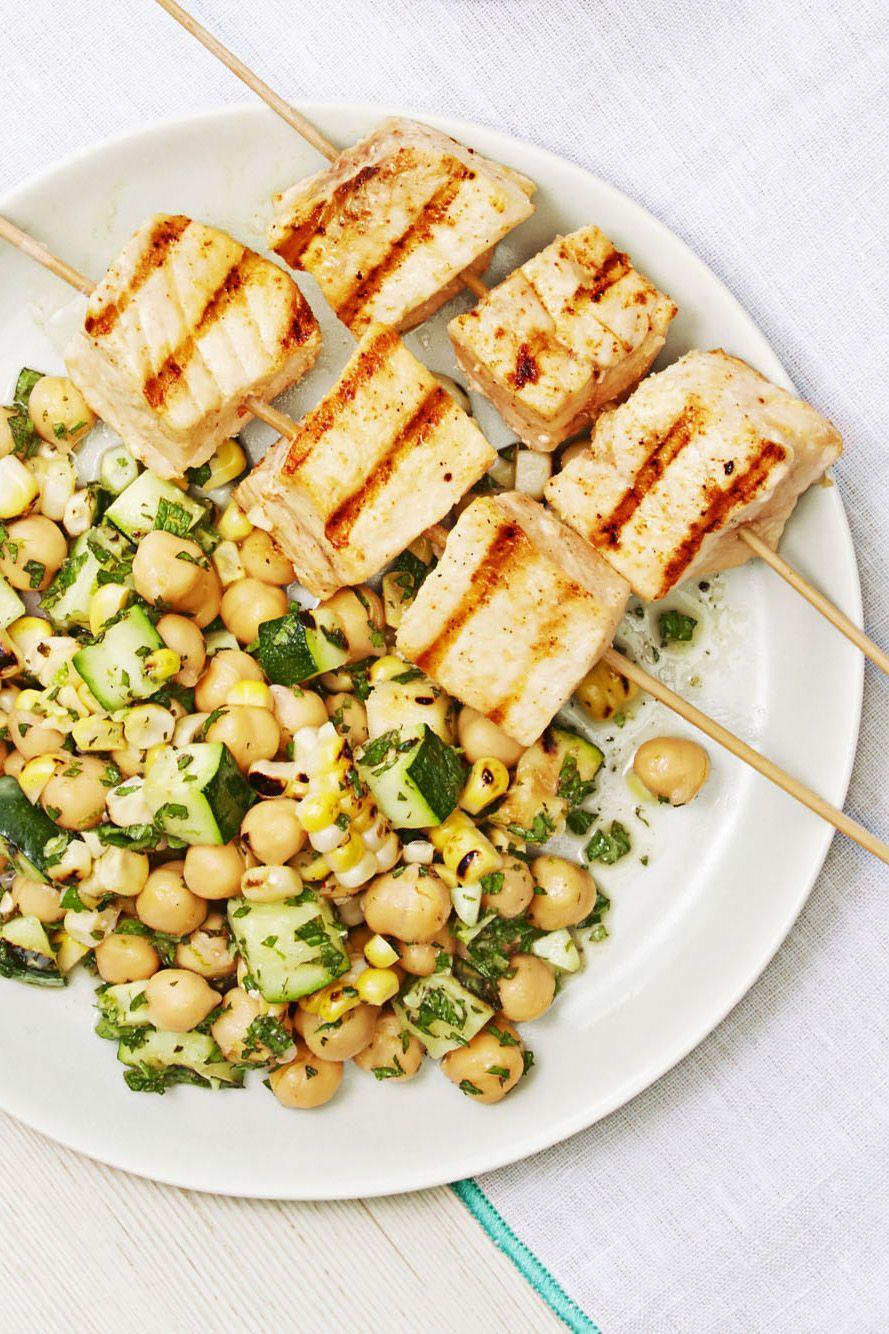 """<p>Step up your side salad game and grill up veggies before tossing them with dressing, herbs, and other mix-ins. </p><p><em><a href=""""https://www.goodhousekeeping.com/food-recipes/easy/a33396/swordfish-summer-salad/"""" rel=""""nofollow noopener"""" target=""""_blank"""" data-ylk=""""slk:Get the recipe for Swordfish with Summer Salad »"""" class=""""link rapid-noclick-resp"""">Get the recipe for Swordfish with Summer Salad »</a></em></p><p><strong>RELATED: </strong><a href=""""https://www.goodhousekeeping.com/food-recipes/healthy/g2128/summer-salads/"""" rel=""""nofollow noopener"""" target=""""_blank"""" data-ylk=""""slk:These Summer Salads Pack in the Best Seasonal Flavors"""" class=""""link rapid-noclick-resp"""">These Summer Salads Pack in the Best Seasonal Flavors</a></p>"""