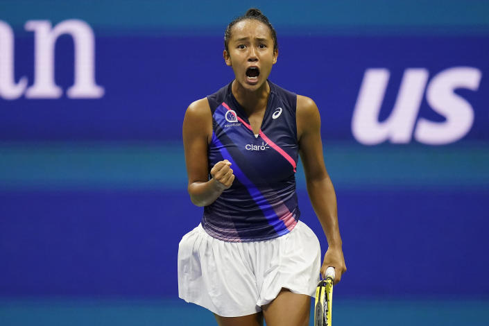Leylah Fernandez, of Canada, reacts after scoring a point against Aryna Sabalenka,of Belarus, during the semifinals of the US Open tennis championships, Thursday, Sept. 9, 2021, in New York. (AP Photo/Seth Wenig)