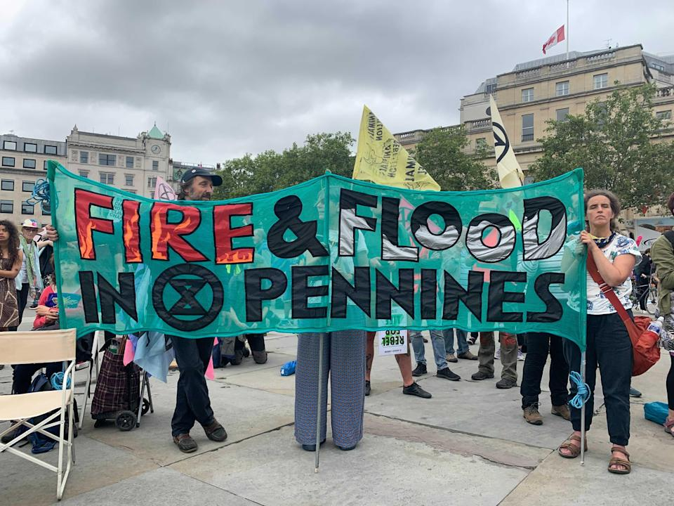 Extinction Rebellion protesters gather in Trafalgar Square in London (Sam Hancock/The Independent)