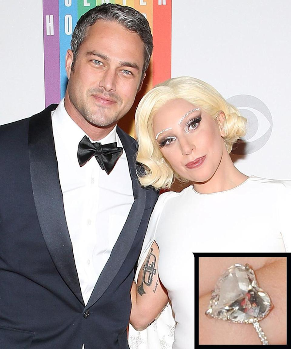 """<p>Taylor Kinney proposed to singer and longtime love Lady Gaga on Valentine's Day 2015 with <a rel=""""nofollow noopener"""" href=""""http://www.instyle.com/news/rocksmyworld-exclusive-details-lady-gagas-engagement-ring-designer-who-made-it"""" target=""""_blank"""" data-ylk=""""slk:a huge, heart-shaped diamond ring"""" class=""""link rapid-noclick-resp"""">a huge, heart-shaped diamond ring</a> by Lorraine Schwartz. The couple called off their engagement in July 2016. </p>"""