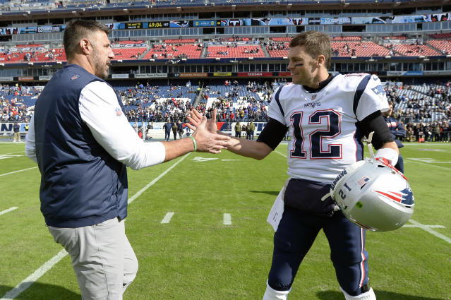 Tennessee Titans head coach Mike Vrabel is a friend and former teammate of soon-to-be free agent Tom Brady. (AP Photo/Mark Zaleski)