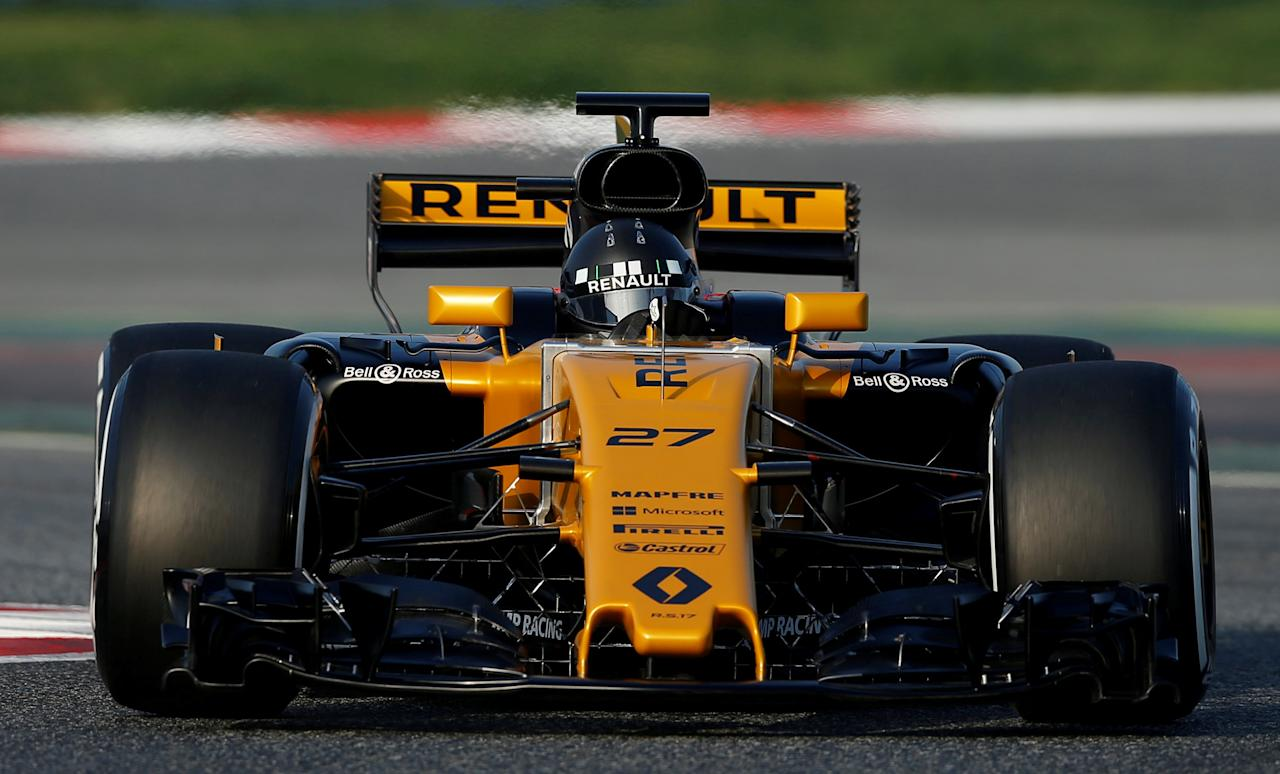 FILE PHOTO: Formula One - F1 - Test session - Barcelona-Catalunya racetrack in Montmelo, Spain - 27/2/17. Renault's Nico Hulkenberg in action.    REUTERS/Albert Gea/File Photo