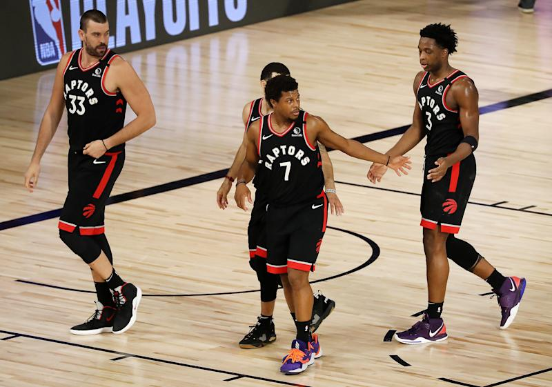 Kyle Lowry #7 of the Toronto Raptors reacts after their win against the Boston Celtics during double overtime in Game Six.