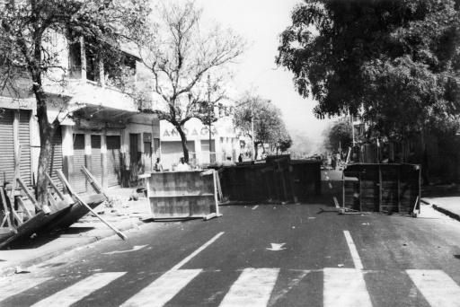A barricade erected by students during clashes with police in Dakar on May 31, 1968