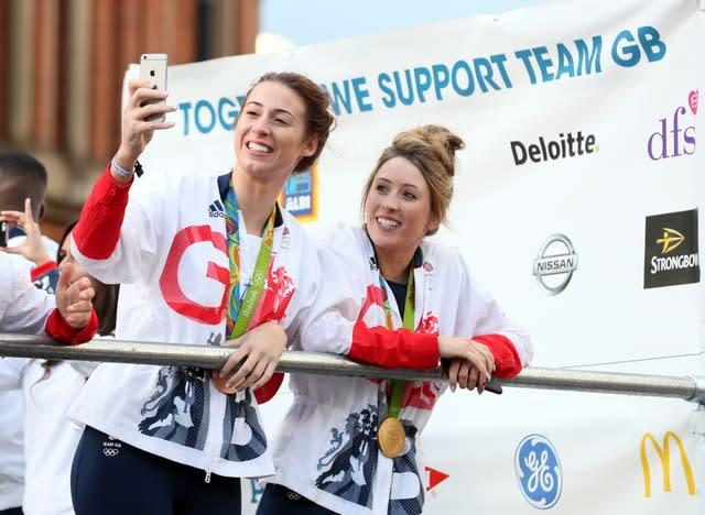 Jade Jones and Bianca Walkden are self-isolating together in Manchester (Martin Rickett/PA)