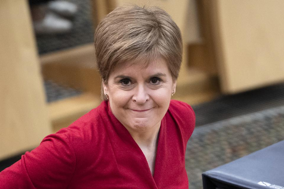 First Minister Nicola Sturgeon during First Minister's Questions at the Scottish Parliament in Holyrood, Edinburgh.