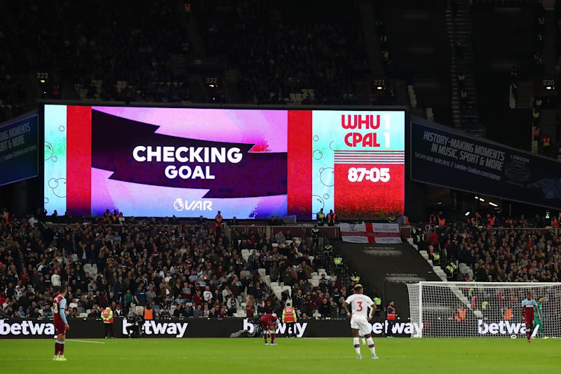 VAR review takes place after Jordan Ayew scores. (Photo by Julian Finney/Getty Images)