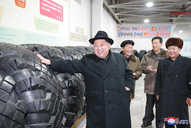 "<p>In this undated photo provided on Sunday, Dec. 3, 2017, by the North Korean government, North Korean leader Kim Jong Un inspects a local tire factory in Chagang Province, North Korea. Kim thanked workers at a factory that built the tires for a huge vehicle used to transport a new intercontinental ballistic missile that was test-launched this week. Independent journalists were not given access to cover the event depicted in this image distributed by the North Korean government. The content of this image is as provided and cannot be independently verified. Korean language watermark on image as provided by source reads: ""KCNA"" which is the abbreviation for Korean Central News Agency. (Korean Central News Agency/Korea News Service via AP) </p>"