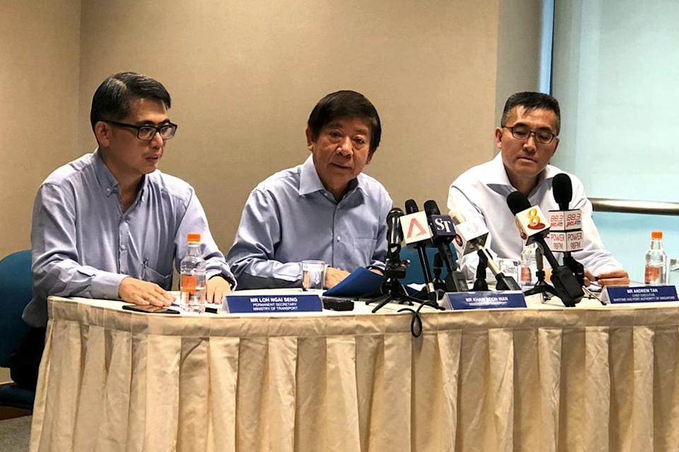 Singapore Transport Minister Khaw Boon Wan (middle) giving a media briefing at Parliament House on 6 December 2018 on Malaysia's intrusions into Singapore territorial waters. He is flanked by Permanent Secretary for Transport Loh Ngai Seng on his right and Maritime Port Authority Chief Executive Andrew Tan on his left. PHOTO: Nicholas Yong/Yahoo News Singapore
