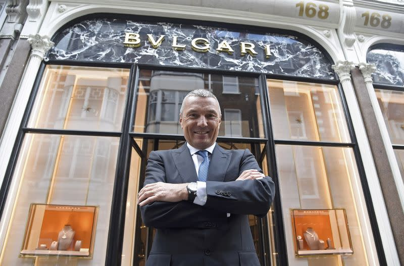 Bulgari CEO Babin poses for a photograph inside a flagship store in central London, Britain