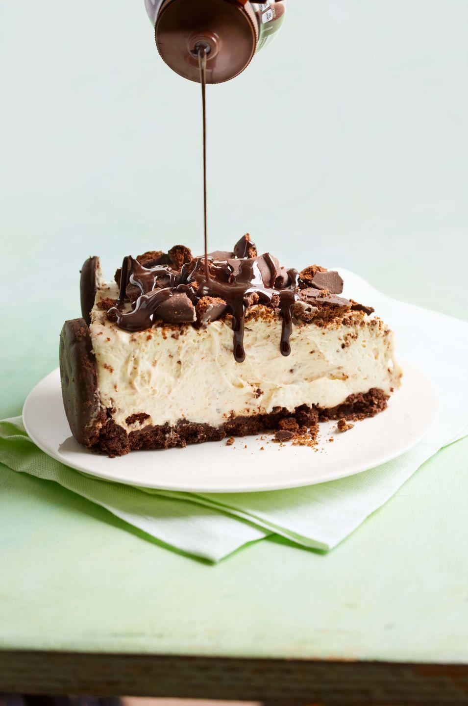 """<p>Yes way! The Girl Scouts' star cookie is the main ingredient in this no-bake cheesecake.</p><p><em><a href=""""https://www.womansday.com/food-recipes/recipes/a57465/thin-mint-cheesecake-recipe/"""" rel=""""nofollow noopener"""" target=""""_blank"""" data-ylk=""""slk:Get the recipe from Woman's Day »"""" class=""""link rapid-noclick-resp"""">Get the recipe from Woman's Day »</a></em></p>"""