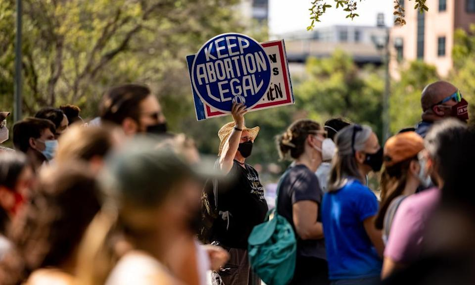 Abortion rights campaigners rally at the Texas state capitol in Austin.