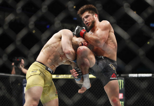 Henry Cejudo is out for the year after requiring left shoulder surgery. (AP Photo/Kamil Krzaczynski)