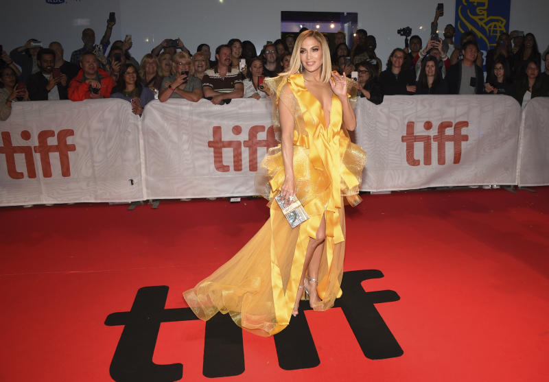 """Jennifer Lopez attends the premiere for """"Hustlers"""" on day three of the Toronto International Film Festival at Roy Thomson Hall on Saturday, Sept. 7, 2019, in Toronto. (Photo by Evan Agostini/Invision/AP)"""