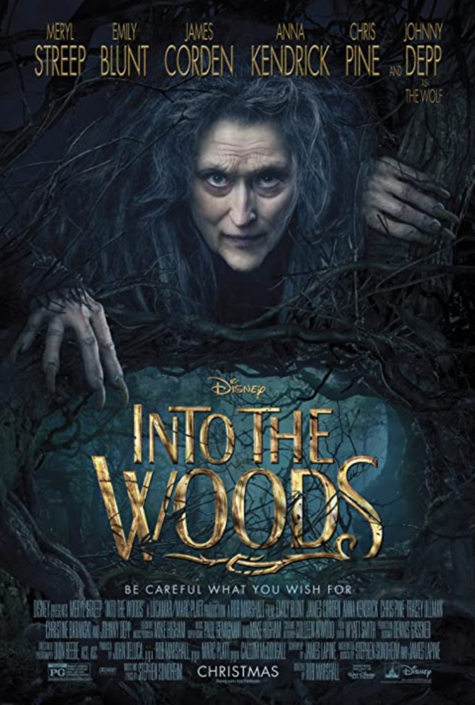 """<p>A witch (<strong>Meryl Streep</strong>) makes a childless baker and his wife (<strong>James Corden</strong> and <strong>Emily Blunt</strong>) go on a three-day adventure to get magical items from classic fairy tales like <em>Cinderella, Little Red Riding Hood, Rapunzel</em> and <em>Jack & the Beanstalk. </em>Needless to say, things don't go as planned. </p><p><a class=""""link rapid-noclick-resp"""" href=""""https://go.redirectingat.com?id=74968X1596630&url=https%3A%2F%2Fwww.disneyplus.com%2Fmovies%2Finto-the-woods%2F1YYWziMOrDdq&sref=https%3A%2F%2Fwww.goodhousekeeping.com%2Flife%2Fentertainment%2Fg33651563%2Fdisney-halloween-movies%2F"""" rel=""""nofollow noopener"""" target=""""_blank"""" data-ylk=""""slk:WATCH NOW"""">WATCH NOW</a></p>"""
