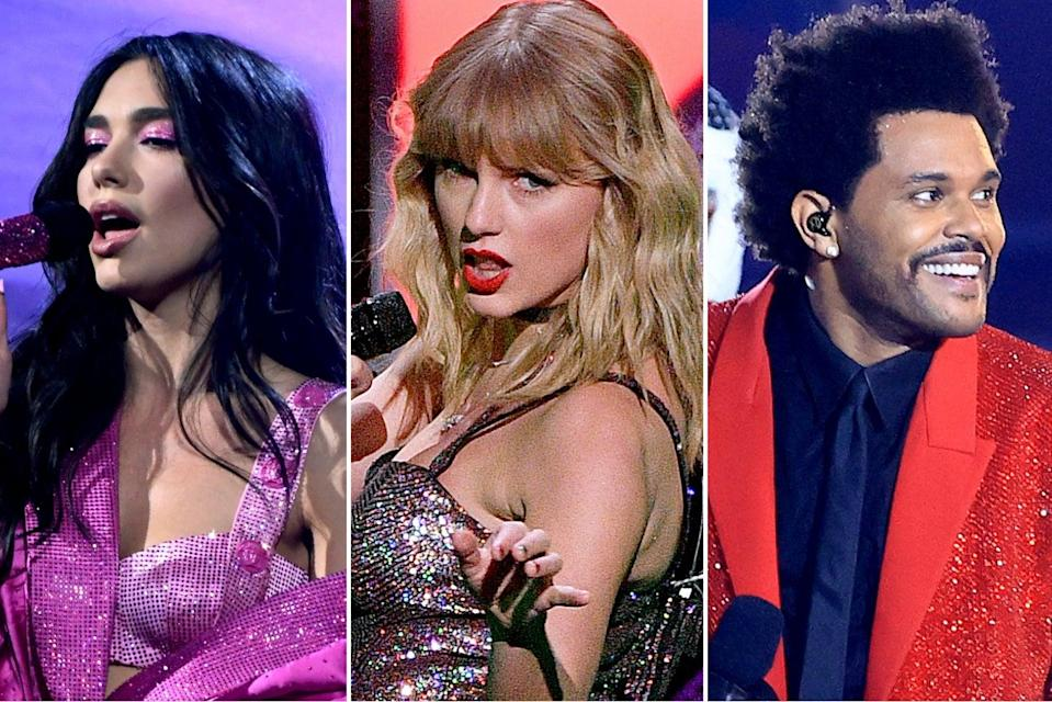 <p>In with a shout: Dua Lipa, Taylor Swift and The Weeknd</p> (Getty Images)
