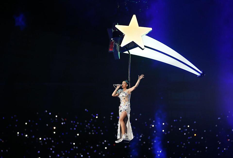 <p>Katy Perry came to the rescue in 2015, making her entrance on this casual shooting star. </p>