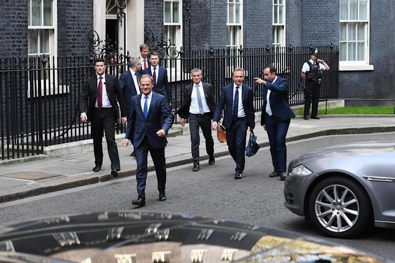 European Council President Donald Tusk departs 10 Downing Street after a meeting with Mrs May (EPA)