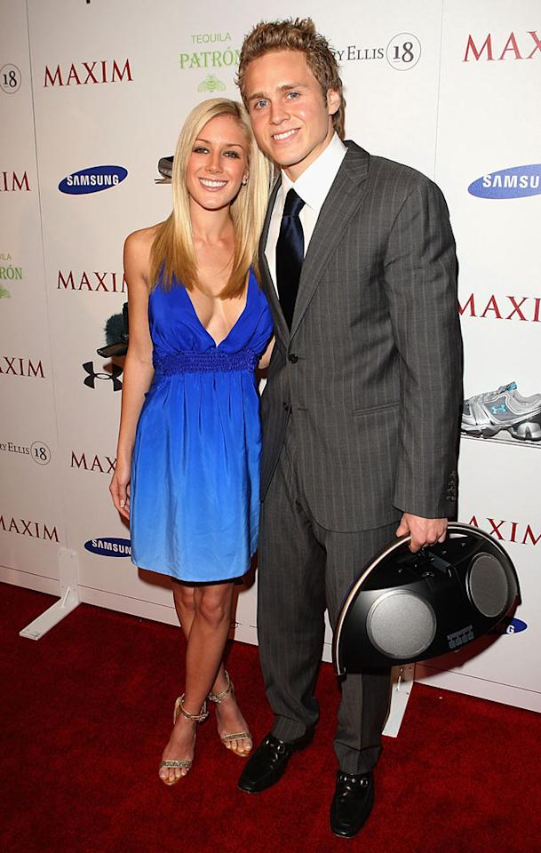 "Armed with their own boombox, Heidi Montag and Spencer Pratt of ""The Hills"" fame walk the red carpet at the Maxim bash. Is the tragic twosome trying to promote Heidi's new single, ""Higher""? Jason Merritt/<a href=""http://www.wireimage.com"" target=""new"">WireImage.com</a> - February 1, 2008"