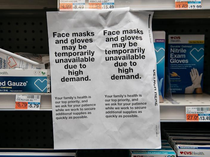 Protective masks demand in stores in New York City