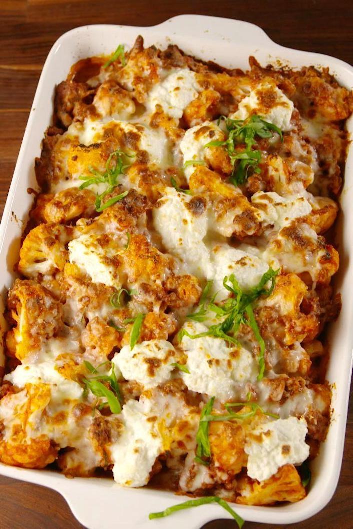 """<p>Cauliflower makes the best stand in for practically EVERY pasta.</p><p>Get the recipe from <a href=""""https://www.delish.com/cooking/recipe-ideas/a57630/cauliflower-baked-ziti-recipe/"""" rel=""""nofollow noopener"""" target=""""_blank"""" data-ylk=""""slk:Delish"""" class=""""link rapid-noclick-resp"""">Delish</a>.<br></p>"""
