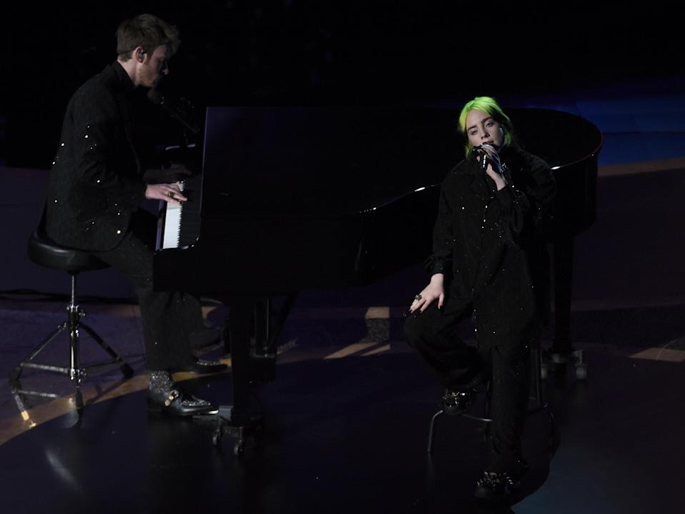 Billie Eilish and Finneas O'Connell perform during the memoriam tribute at the Oscars on 9 February 2020 in Los Angeles, California (AP Photo/Chris Pizzello)