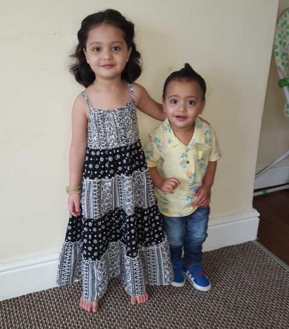 Mr Pasha's children, Wania, aged four, and Yusuf, aged two