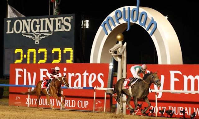 "<span class=""element-image__caption"">Arrogate easing down at the line after his remarkable Dubai Gold Cup win.</span> <span class=""element-image__credit"">Photograph: racingfotos.c/Rex/Shutterstock</span>"