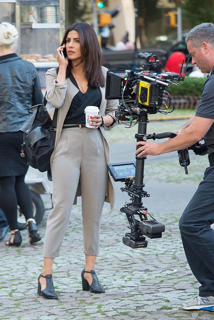 """<p>Dressed for success while filming of """"Quantico"""" in New York City. <i>(Photo by Michael Stewart/GC Images)</i></p>"""
