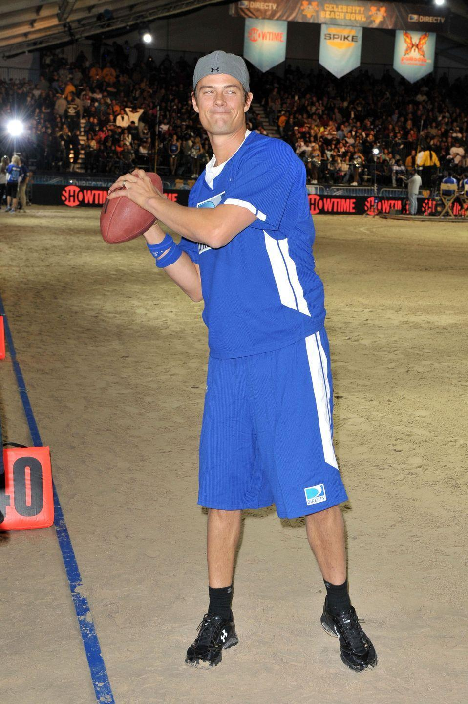 """<p>While competing in a charity football game, Josh Duhamel showed off his pigskin skills. These are the same skills that earned him the <a href=""""https://herosports.com/actor-josh-duhamel-football-quarterback-minot-state/"""" rel=""""nofollow noopener"""" target=""""_blank"""" data-ylk=""""slk:quarterback position"""" class=""""link rapid-noclick-resp"""">quarterback position</a> at Minot State University in North Dakota. </p>"""