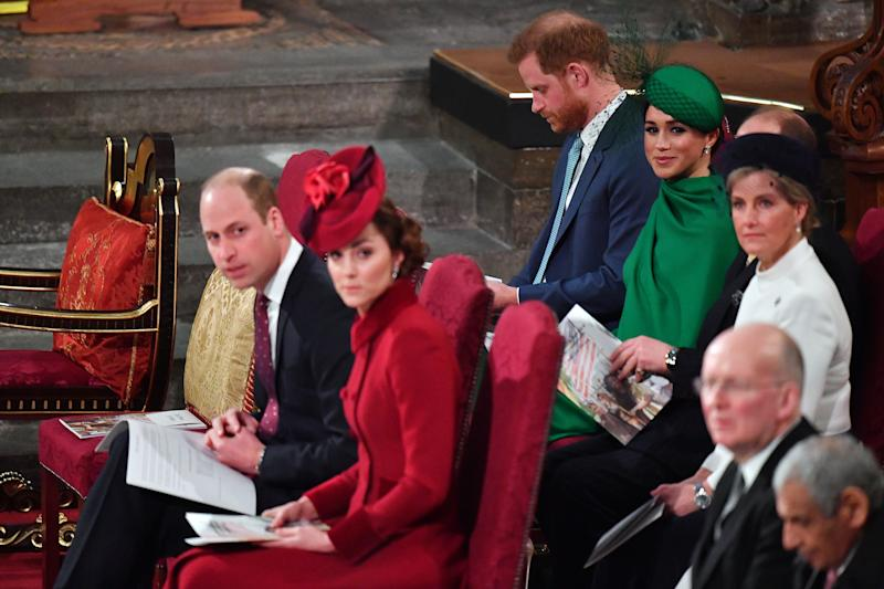 LONDON, ENGLAND - MARCH 09: Prince William, Duke of Cambridge, Catherine, Duchess of Cambridge, Prince Harry, Duke of Sussex, Meghan, Duchess of Sussex, Prince Edward, Earl of Wessex and Sophie, Countess of Wessex attend the Commonwealth Day Service 2020 on March 9, 2020 in London, England. (Photo by Phil Harris - WPA Pool/Getty Images)