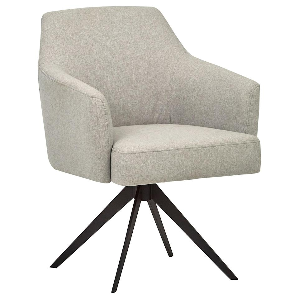 """<h3><a href=""""https://amzn.to/3p6nX9K"""" rel=""""nofollow noopener"""" target=""""_blank"""" data-ylk=""""slk:Swivel Desk Chair"""" class=""""link rapid-noclick-resp"""">Swivel Desk Chair</a></h3><br><strong>Carrie</strong><br><br><strong>How She Discovered It:</strong> """"Searching for an in-stock desk chair that wasn't an ugly ergonomic style.""""<br><br><strong>Why It's A Hidden Gem:</strong> """"I've been working from home since March and had been holding off on investing in a proper desk chair until my company finally announced we wouldn't be heading back into the office until 2021. SO I bit the bullet and bought this beauty off Amazon. It's by one of the company's in-house home brands and although it was on the pricier side, it really was a quality buy. Not only does it look sleek inside my apartment, but it also feels so much more supportive on my back throughout the day than that accent chair I had been sitting in.""""<br><br><strong>Rivet</strong> Mid-Century Swope Curved Arm Swivel Office Chair, $, available at <a href=""""https://amzn.to/3p6nX9K"""" rel=""""nofollow noopener"""" target=""""_blank"""" data-ylk=""""slk:Amazon"""" class=""""link rapid-noclick-resp"""">Amazon</a>"""