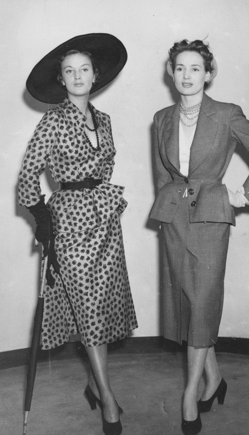 <p>Models wearing tailored Dior skirt suits. </p>