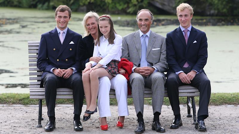 Prince Joachim (L) with family at a Belgian Royal Family official photocall