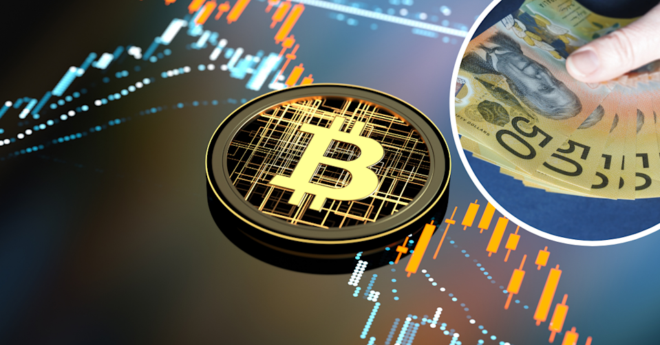 Digital representation of a Bitcoin on a background showing price movements on a chat and a hand holding $50 notes.