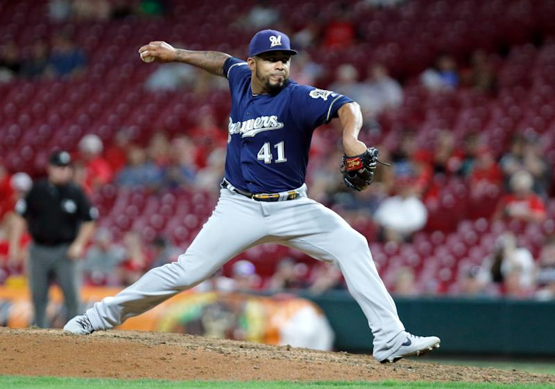 Sep 25, 2019; Cincinnati, OH, USA; Milwaukee Brewers relief pitcher Junior Guerra (41) throws against the Cincinnati Reds during the ninth inning at Great American Ball Park. Mandatory Credit: David Kohl-USA TODAY Sports