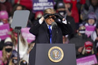 President Donald Trump speaks at a campaign rally in Omaha, Neb., Tuesday, Oct. 27, 2020. (AP Photo/Nati Harnik)
