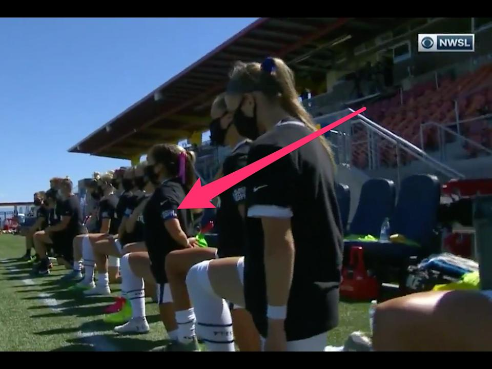 NWSL players wear arm bands in support of the Black Lives Matter movement.