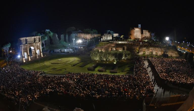 Some 20,000 Christians gathered at the Colosseum for the Good Friday prayer