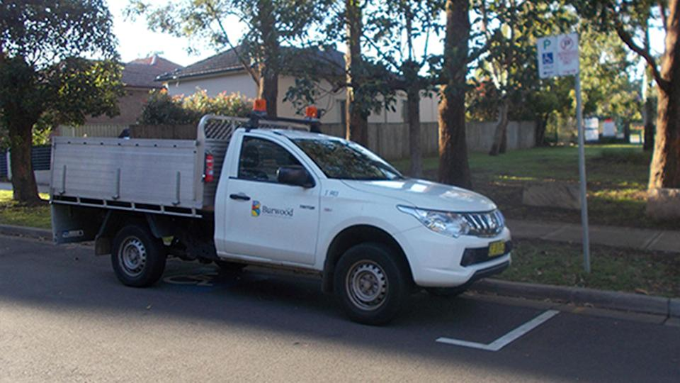 A Burwood Council vehicle was seen parking in a disabled only parking bay. Source: 2GB
