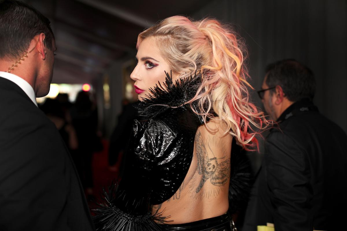 """<p>Musician Lady Gaga debuted a moth tattoo on her back that was inspired by her performance of the song """"Moth Into Flame"""" with Metallica. (Photo: Getty Images) </p>"""