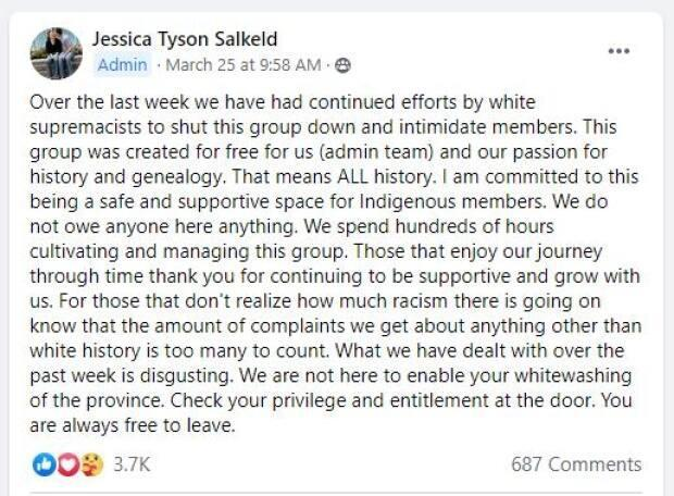 Salkeld said it was a rough few days after posting the above statement.