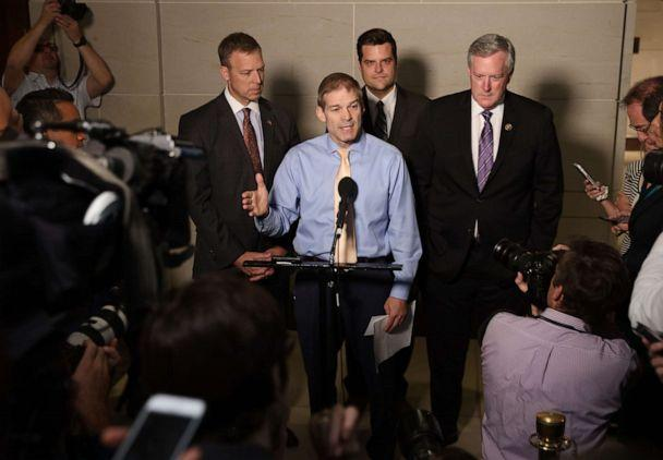 PHOTO: Rep. Jim Jordan ranking member of the House Oversight Committee, speaks with fellow Republican members of the House at the Capitol on October 08, 2019, in Washington, D.C. (Win McNamee/Getty Images)