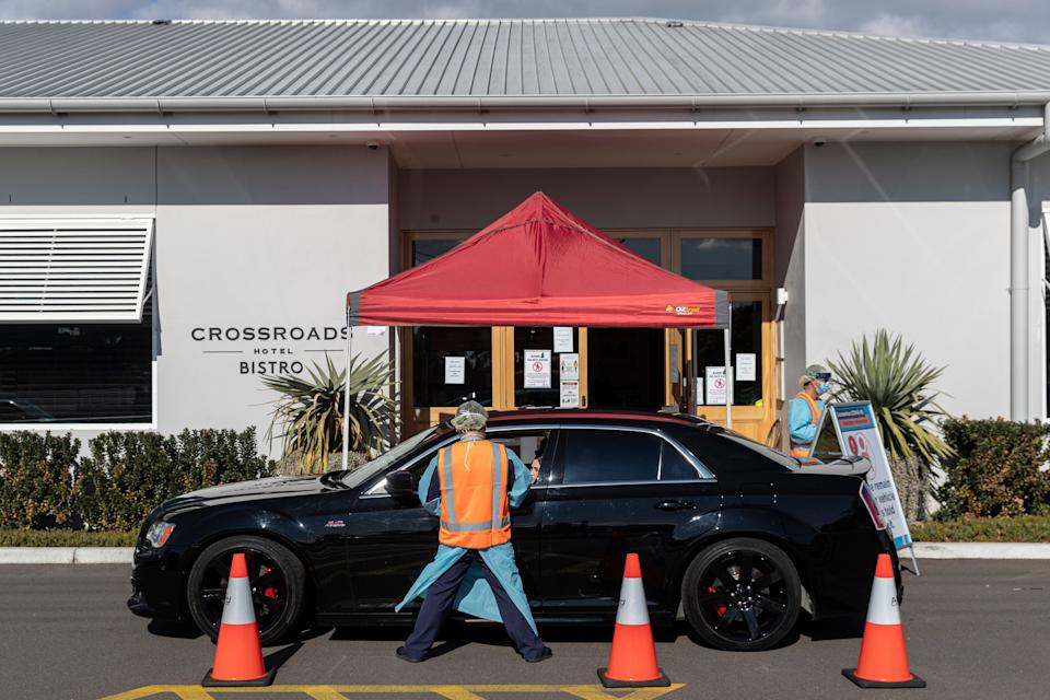 SYDNEY, AUSTRALIA - JULY 13: COVID-19 testing is carried out at the Crossroads Hotel in Casula on July 13, 2020 in Sydney, Australia. (Photo: Brook Mitchell via Getty Images)