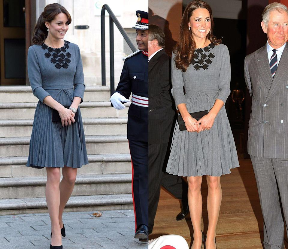 <p>Kate Middleton wore this grey Orla Kiely dress with black embroidery at the collar to the Princes Trust at Dulwich picture gallery in March 2012 and to meet with children at Islington Town Hall in October 2015.</p>